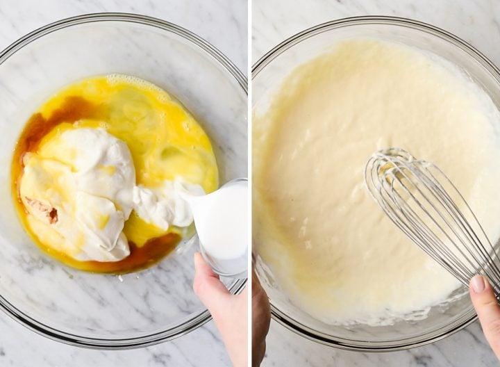 two overhead photos showing how to make Greek yogurt pancakes - combining wet ingredients