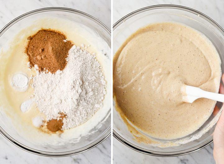 two overhead photos showing how to make Greek yogurt pancakes -  adding dry ingredients