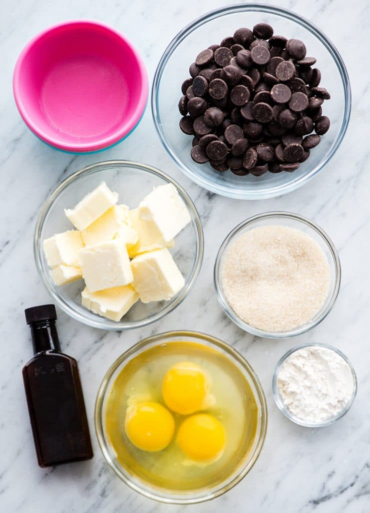 overhead view of the ingredients in this Molten Chocolate Lava Cake recipe