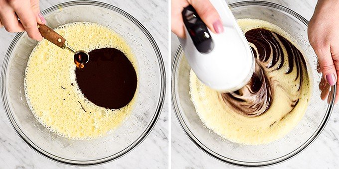 two overhead photos showing the step of adding chocolate and vanilla and beating in this Molten Chocolate Lava Cake recipe