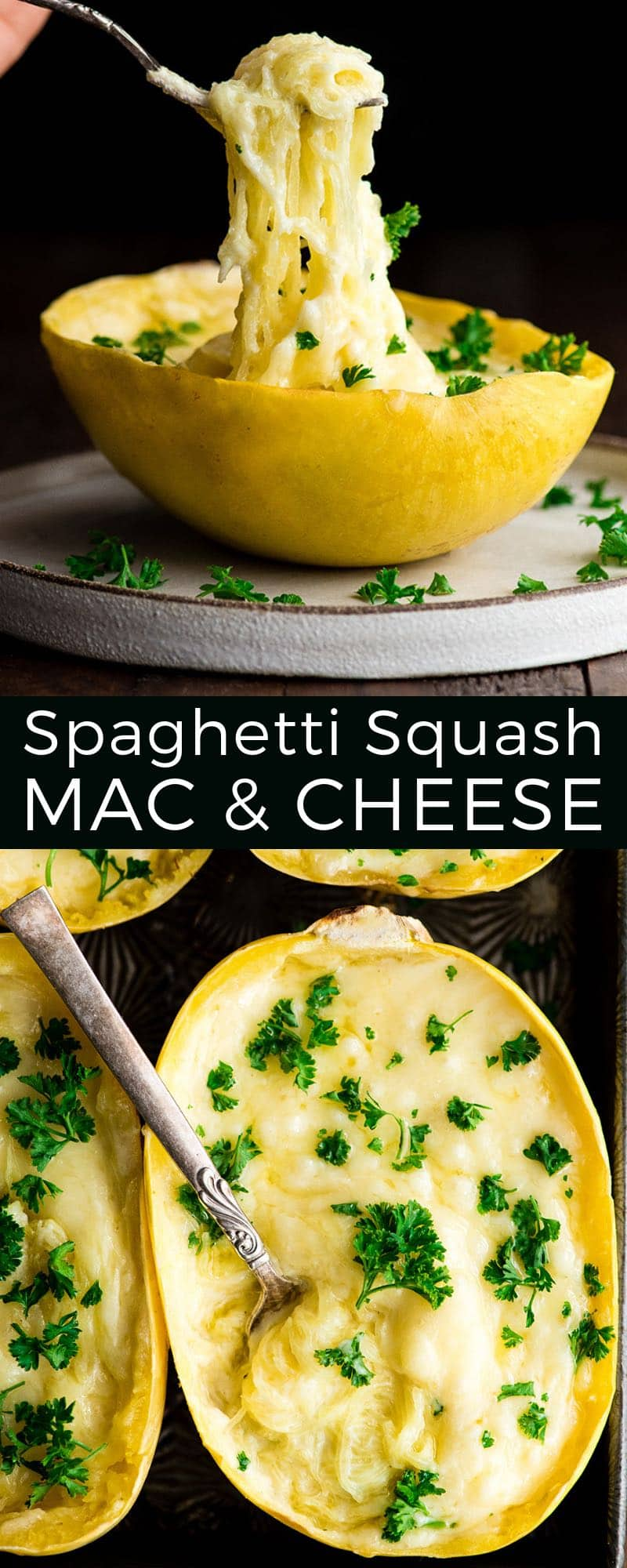 This Easy & Healthy Spaghetti Squash Mac and Cheese Recipe is low-carb and keto! It's a delicious gluten-free dinner, side dish or meal prep idea! #lowcarb #spaghettisquash #macandcheese #glutenfree #easy #recipe #keto