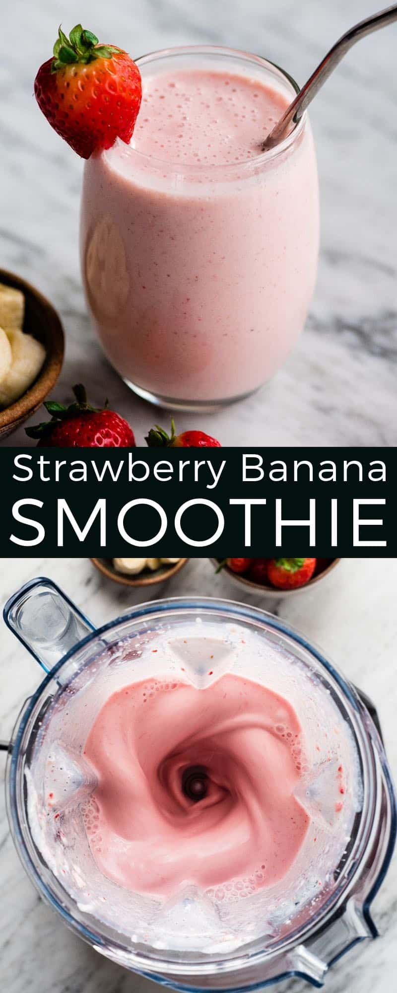 The BEST strawberry banana smoothie recipe ever! It's easy (ready in less than 5 minutes), healthy, and made with yogurt so it's full of protein!  It's the perfect snack or breakfast! #smoothie #strawberrybananasmoothie #strawberry #banana #breakfast #snack #vitamix