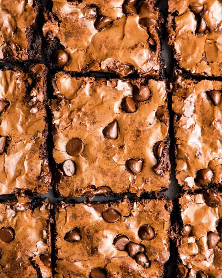Overhead view of 9 Paleo Flourless Brownies cut into squares