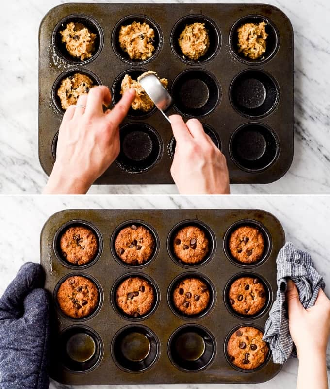 two overhead photos, the top one shows a hand filling a muffin in with healthy chocolate chip muffin batter, the bottom shows two hands holding a muffin pan with baked chocolate chip muffins in it.