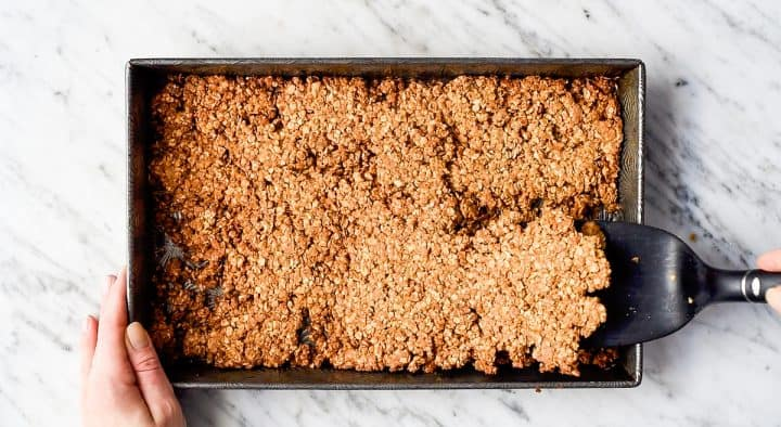 overhead photo showing how to make peanut butter granola