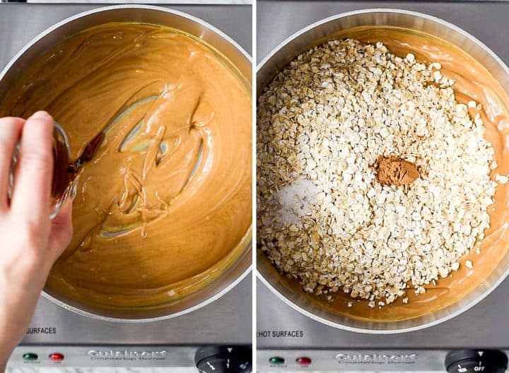 two overhead photos showing how to make peanut butter granola