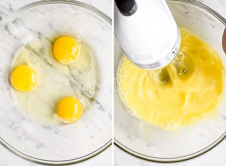 two overhead photos showing how to make chocolate lava cakes - beating eggs