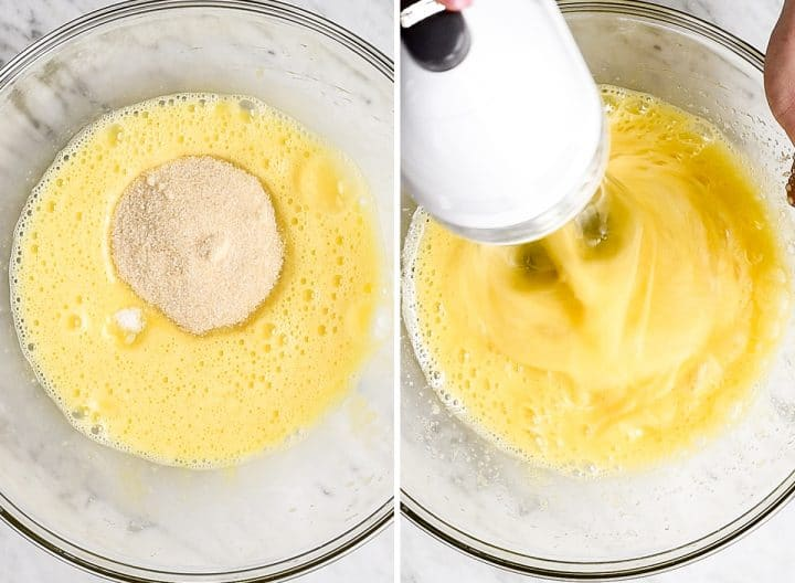 two overhead photos showing how to make chocolate lava cakes - beating in sugar and salt