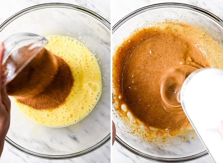 two overhead photos showing How to Make Flourless Brownies - beating in sugar