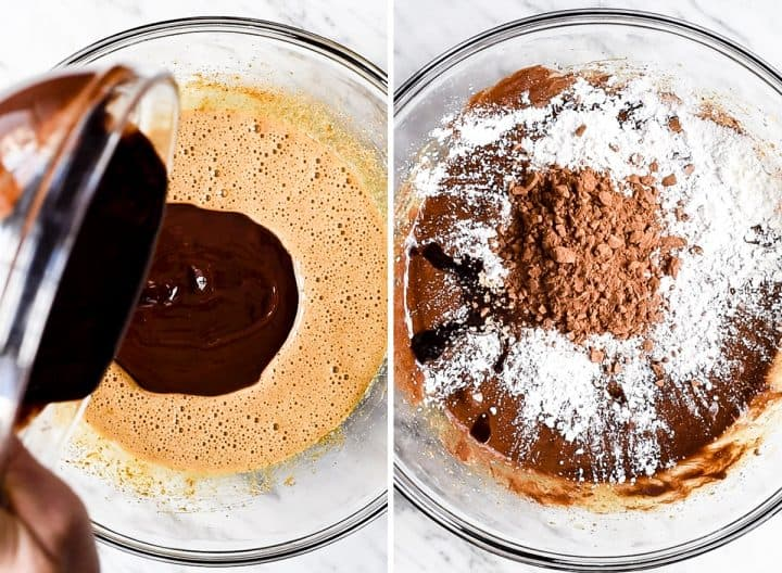 two overhead photos showing How to Make Flourless Brownies - adding melted chocolate and dry ingredients