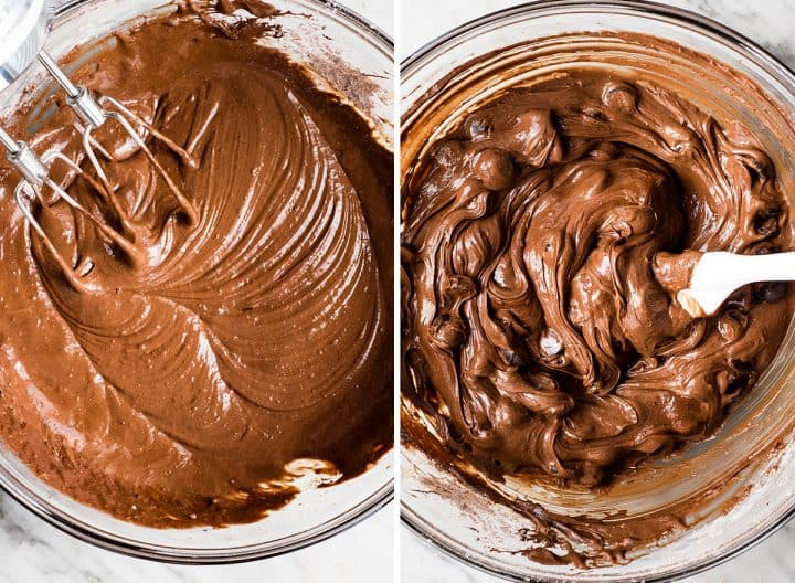 two overhead photos showing How to Make Flourless Brownies - stirring in chocolate chips