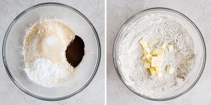 two overhead photos of a glass bowl, the left shows the dry ingredients in this Mocha Chocolate Scones recipe, and the right shows adding the butter