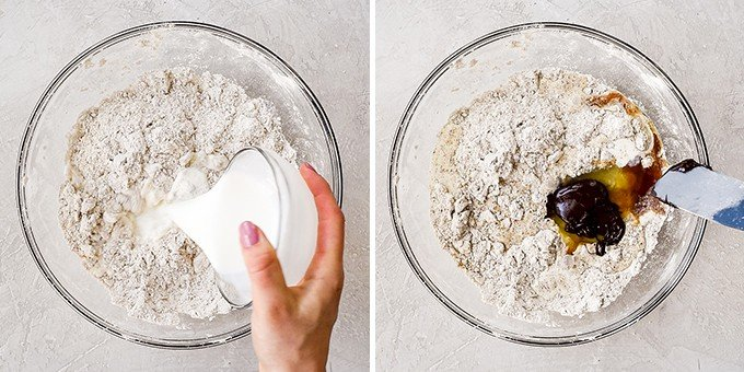 two overhead photos of a glass bowl, the left shows a hand pouring half-and-half into the dry ingredient/butter mixture of this Mocha Chocolate Scones recipe, and the right shows adding the eggs and melted chocolate