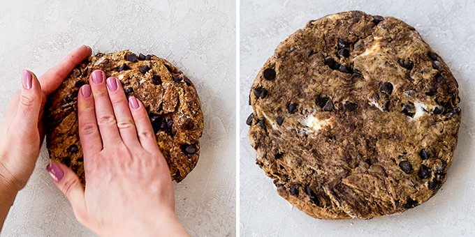 two overhead photos, the left shows two hands shaping the mocha chocolate scones recipe into a circle, and the right is an overhead up close view of the scone dough shaped into a circle