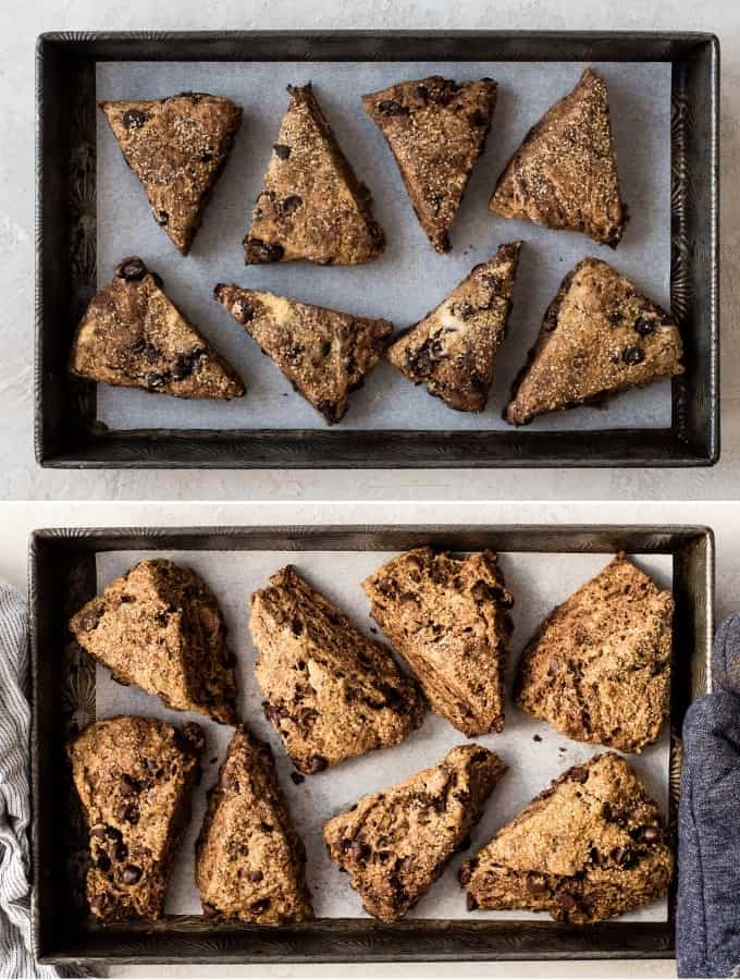 two overhead photos of a baking pan, the top shows the Mocha Chocolate Scones recipe before baking, the bottom shows the Mocha Chocolate Scones recipe after they have been baked
