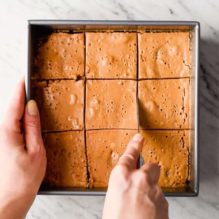 breakfast bars being cut into 9 squares