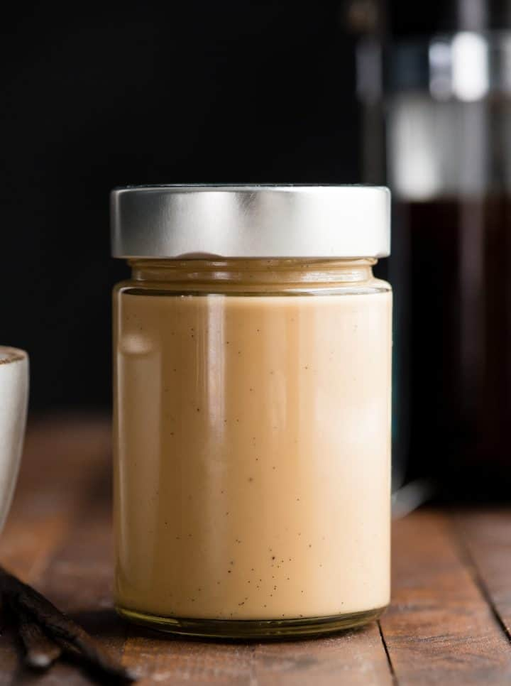 front view of a glass jar of healthy coffee creamer