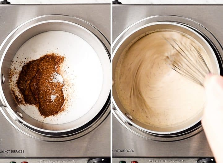 two photos showing how to make healthy coffee creamer -whisking in coconut sugar