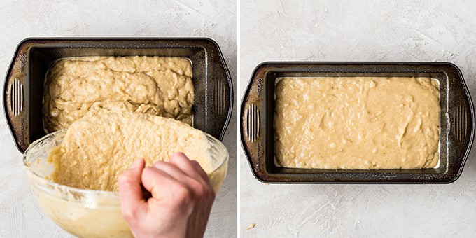two overhead photos, the one on the left shows banana bread recipe batter being poured into the baking pan, the one on the right shows the baking pan after the batter has been poured into it