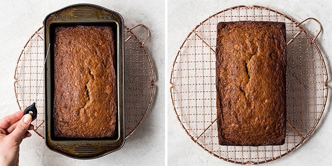 two overhead photos, the one of the left shows the banana bread in the baking pan, the one on the right shows the banana bread on the cooling rack