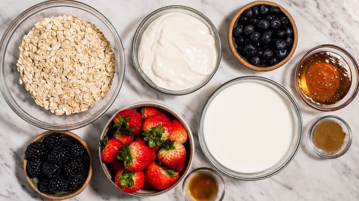 overhead view of the ingredients in this Yogurt Overnight Oats recipe