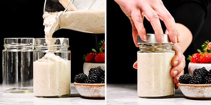 two front view photos showing pouring yogurt overnight oats into a jar and then putting the lid on