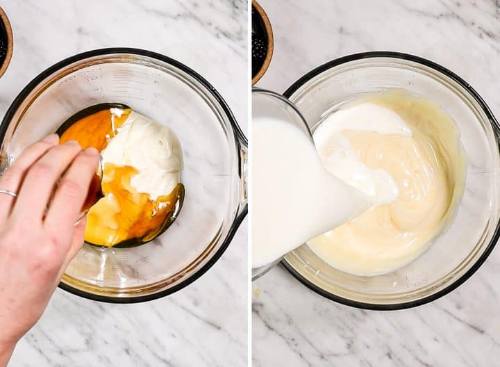 two photos showing how to make overnight oats with yogurt - mixing together wet ingredients.
