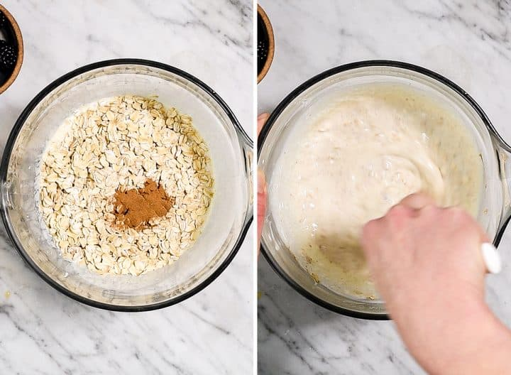 two photos showing how to make overnight oats with yogurt - adding dry ingredients & oats