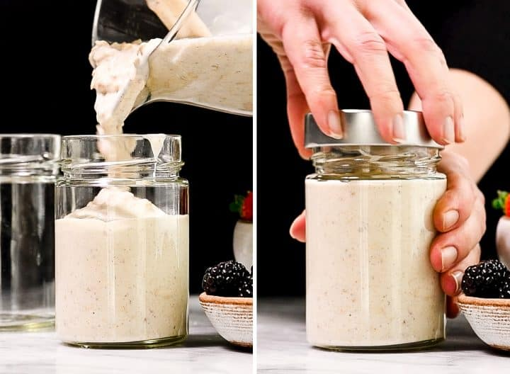 two photos showing how to make overnight oats with yogurt - pouring mixture into jars and putting a lid on