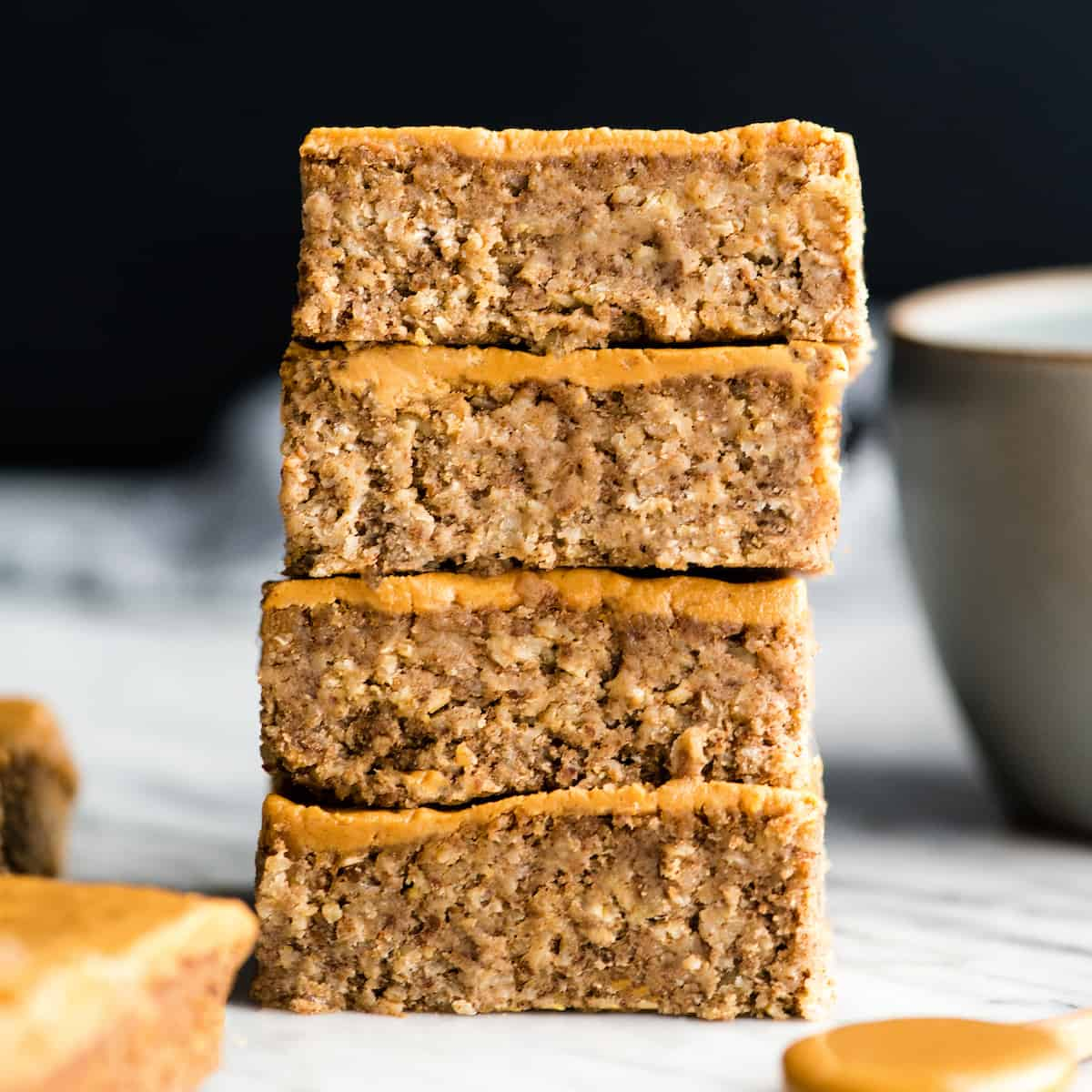 front view of a stack of four healthy breakfast bars