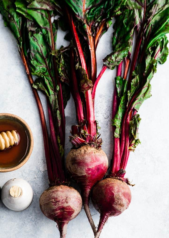 overhead view of the ingredients in this Balsamic Roasted Beets Recipe