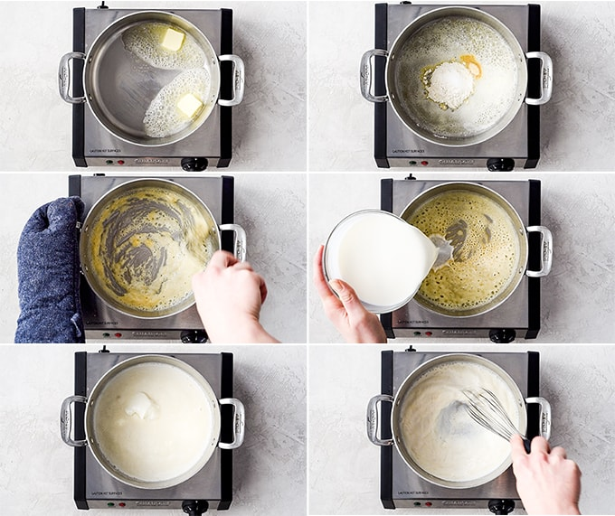 a collage of six overhead photos showing the steps in how to make the roux for the cheese sauce in this Easy Homemade Mac and Cheese Recipe