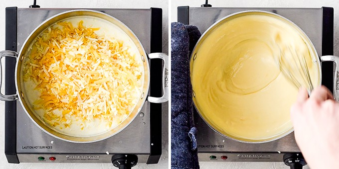 two side by side photos showing the steps in making the cheese sauce for this Easy Homemade Mac and Cheese Recipe.