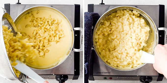 two photos showing adding the cooked macaroni to the cheese sauce and stirring it in this Easy Homemade Mac and Cheese Recipe