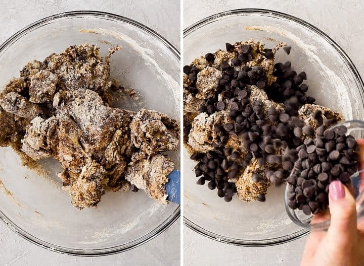 two overhead photos of a glass bowl, the left shows the Mocha Chocolate Scones recipe dough being mixed, and the right shows adding the chocolate chips