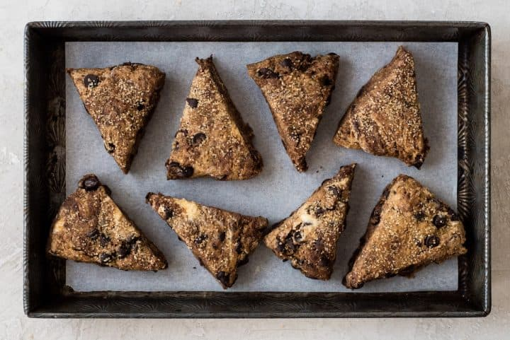 How to Make Chocolate Scones -on the baking sheet before baking