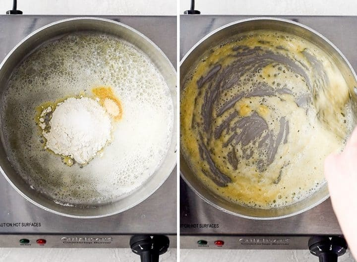 two photos showing how to make Mac and Cheese - making the roux for the cheese sauce