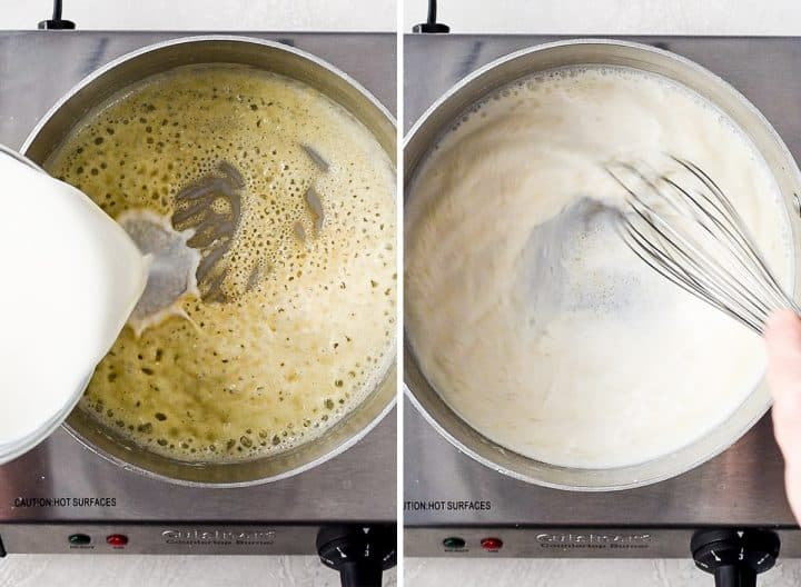 two photos showing how to make Mac and Cheese - making the cheese sauce