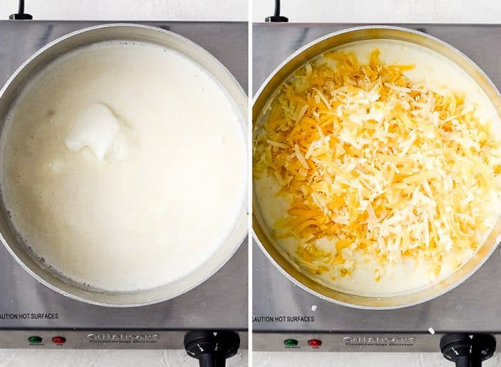 two photos showing how to make Mac and Cheese - adding sour cream and cheese