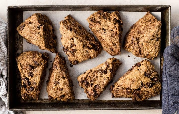 How to Make Chocolate Scones -on the baking sheet after baking