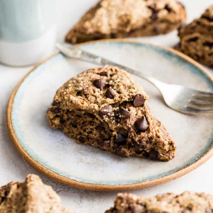 mocha chocolate scone on a plate with a fork