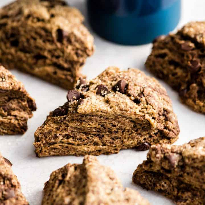 up close front view of a Mocha Chocolate Scone surrounded by other Mocha Chocolate Scones