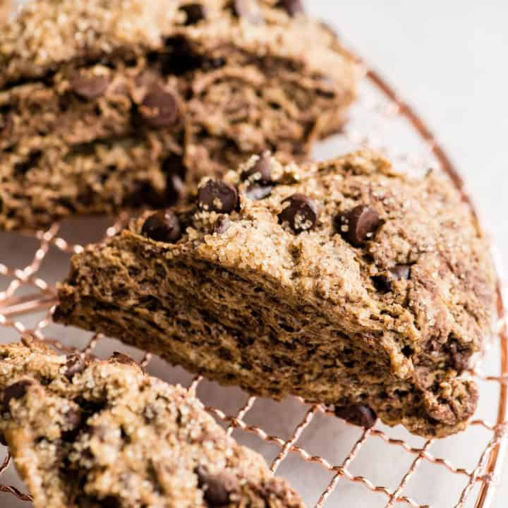 up-close front view of a Mocha Chocolate Scone on a cooling rack