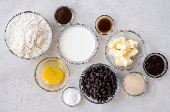 overhead view of the ingredients in this Mocha Chocolate Scones recipe