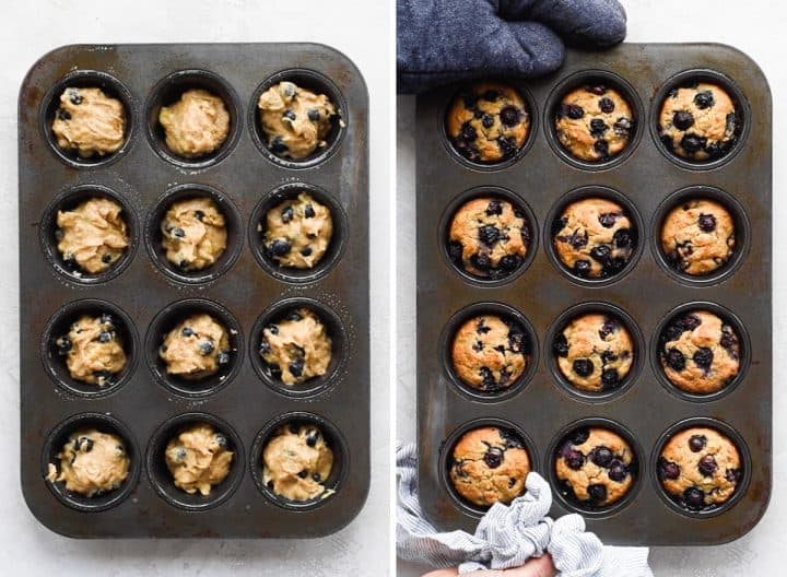 two overhead phots of a muffin tin, the top shows a hand adding paleo blueberry muffin batter into the wells of the tin, the bottom shows two hands holding the muffin pan after the muffins have been baked