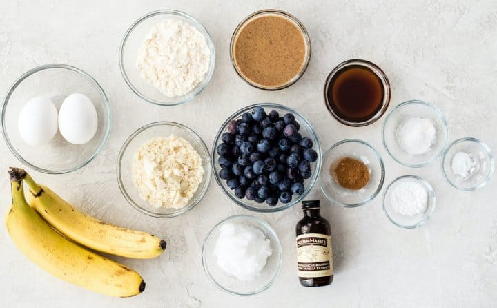 overhead photo of the ingredients in this Paleo Blueberry Muffins recipe