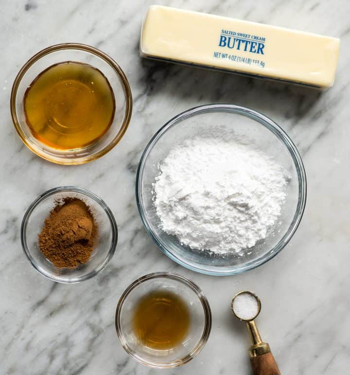 overhead view of the ingredients in this cinnamon honey butter recipe