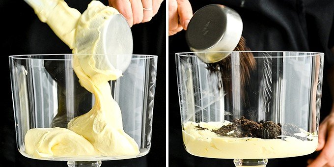 two photos showing the front of a glass trifle dish. The left photo shows a hand measuring 1 cup of pudding into the dish, the right shows a hand adding crushed oreos on top of the pudding layer in this Oreo Dirt Cake