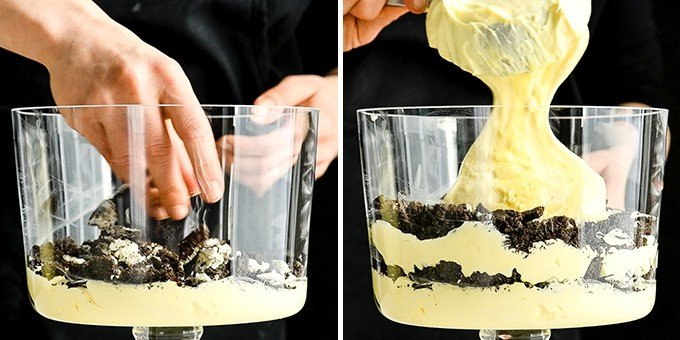 two photos showing the front view of a glass trifle dish. The right photo shows a hand sprinkling Oreos into the dish, the right shows adding another pudding layer to the Oreo Dirt Cake