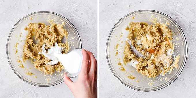 two overhead photos of a glass bowl, the right shows milk being poured onto the butter/sugar mixture, the right shows the vanilla added